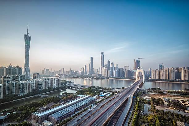 guangzhou skyline in der Dämmerung – Foto
