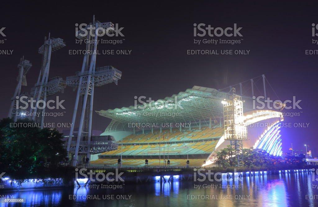 Guangzhou Stadium night cityscape in Guangzhou China.