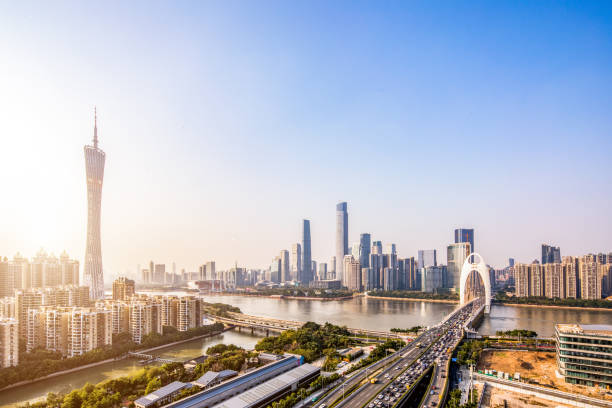 guangzhou kulesi - guangdong i̇li stok fotoğraflar ve resimler