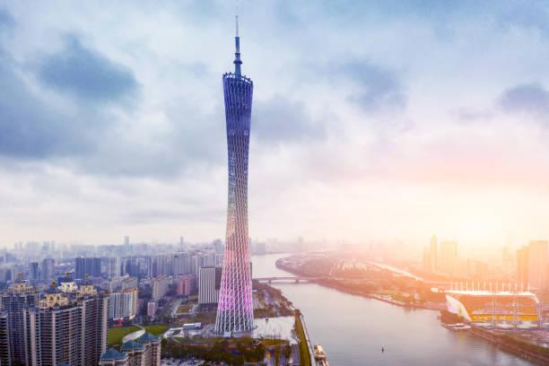 guangzhou kule günbatımı - guangdong i̇li stok fotoğraflar ve resimler