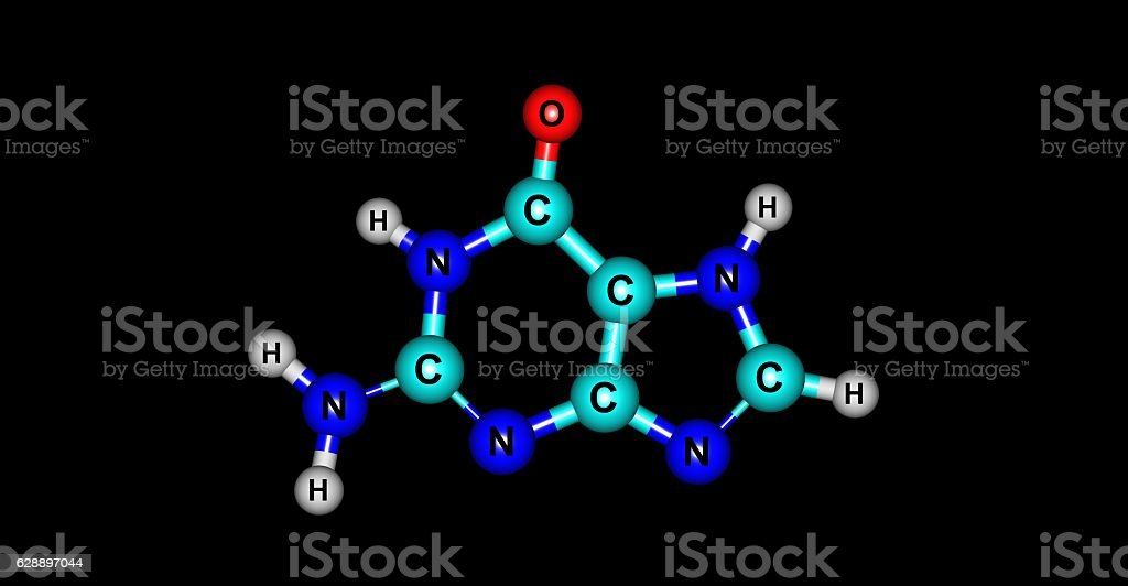 Guanine molecular structure isolated on black stock photo