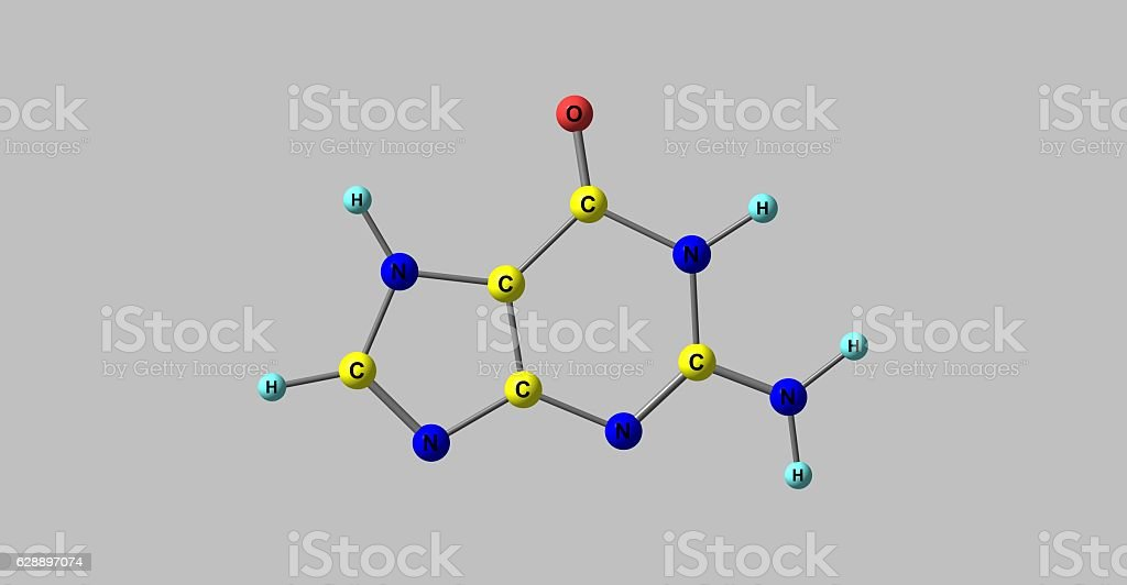 Guanine molecular structure isolated on grey stock photo