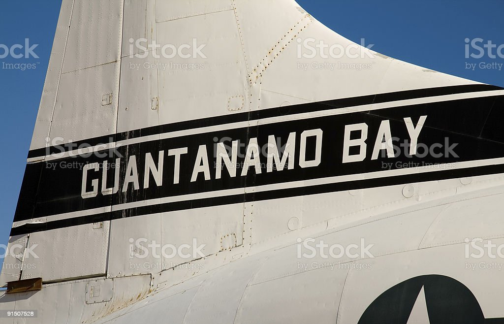 Guantanamo Bay Airplane US Airforce Airplane from Guantanamo Bay. Afghanistan Stock Photo