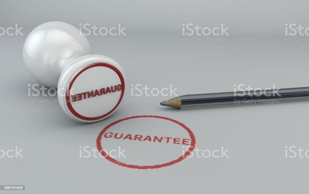 Guarantee stamp and pen, 3d rendering stock photo