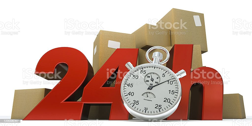 guaranteed delivery 24 hrs stock photo