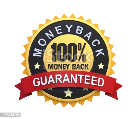 istock Guaranteed Label with Gold Badge Sign 487533283