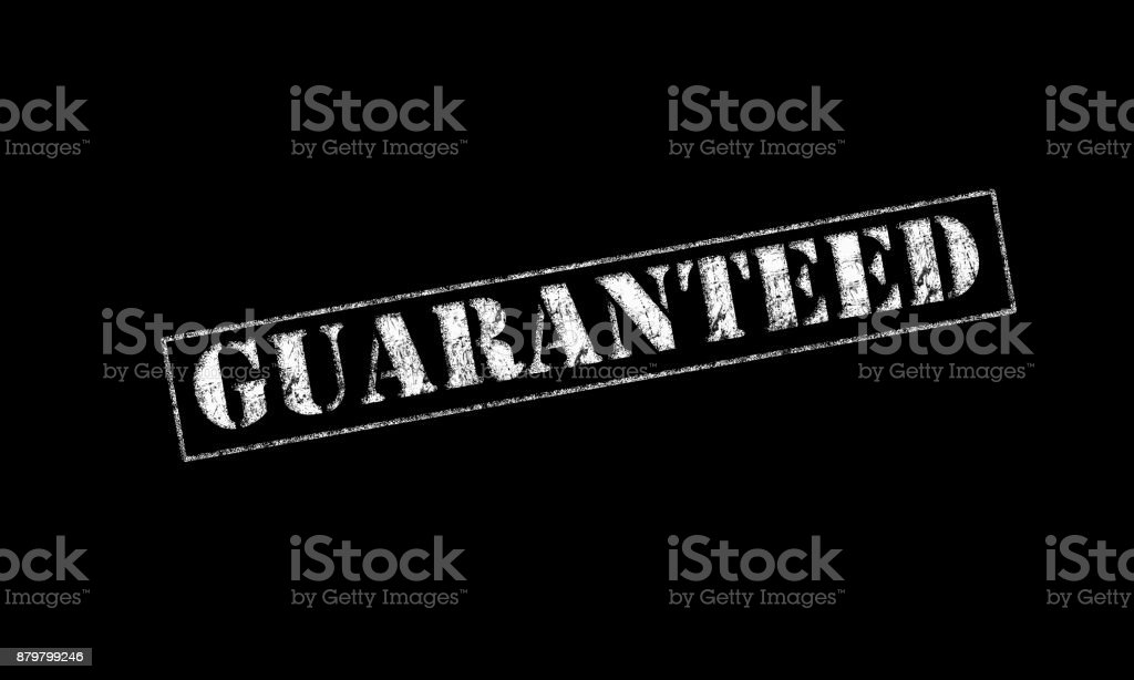 guaranteed rubber stamp red stock photo