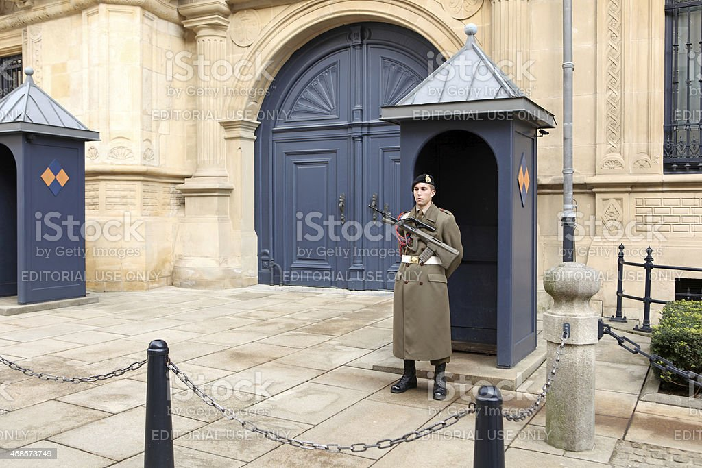 Guard at the Grand Duke's Palace in Luxembourg stock photo
