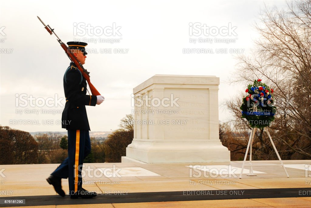 Guard at Tomb of the Unknowns stock photo