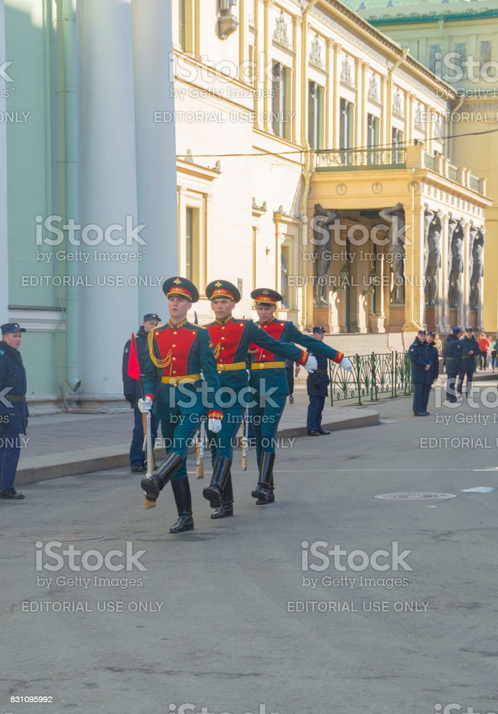 guard before the Palace square, the victory parade rehearsal stock photo