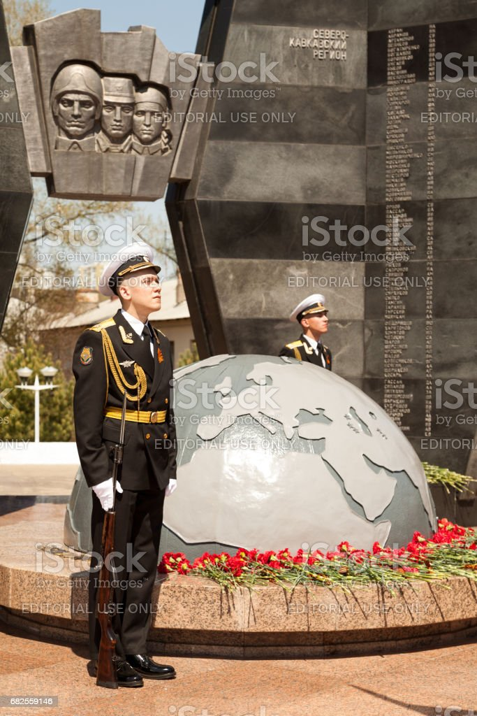 Guard of honor at the Great Patriotic War memorial on May 9 Victory Day stock photo