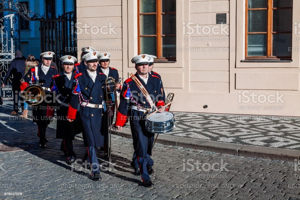 Guard of honor Music band in front of the presidential Palace in Prague, Czech Republic stock photo