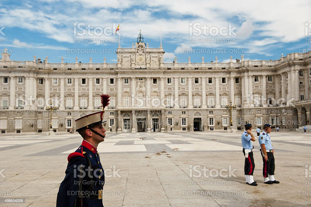 Guard of Royal Palace at Madrid royalty-free stock photo
