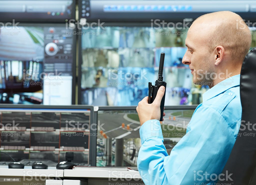 guard of security video surveillance stock photo