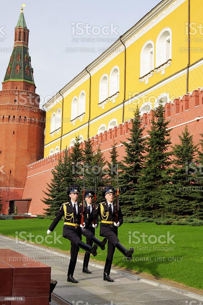 Guard of the Kremlin Regiment in Alexander Garden royalty-free stock photo