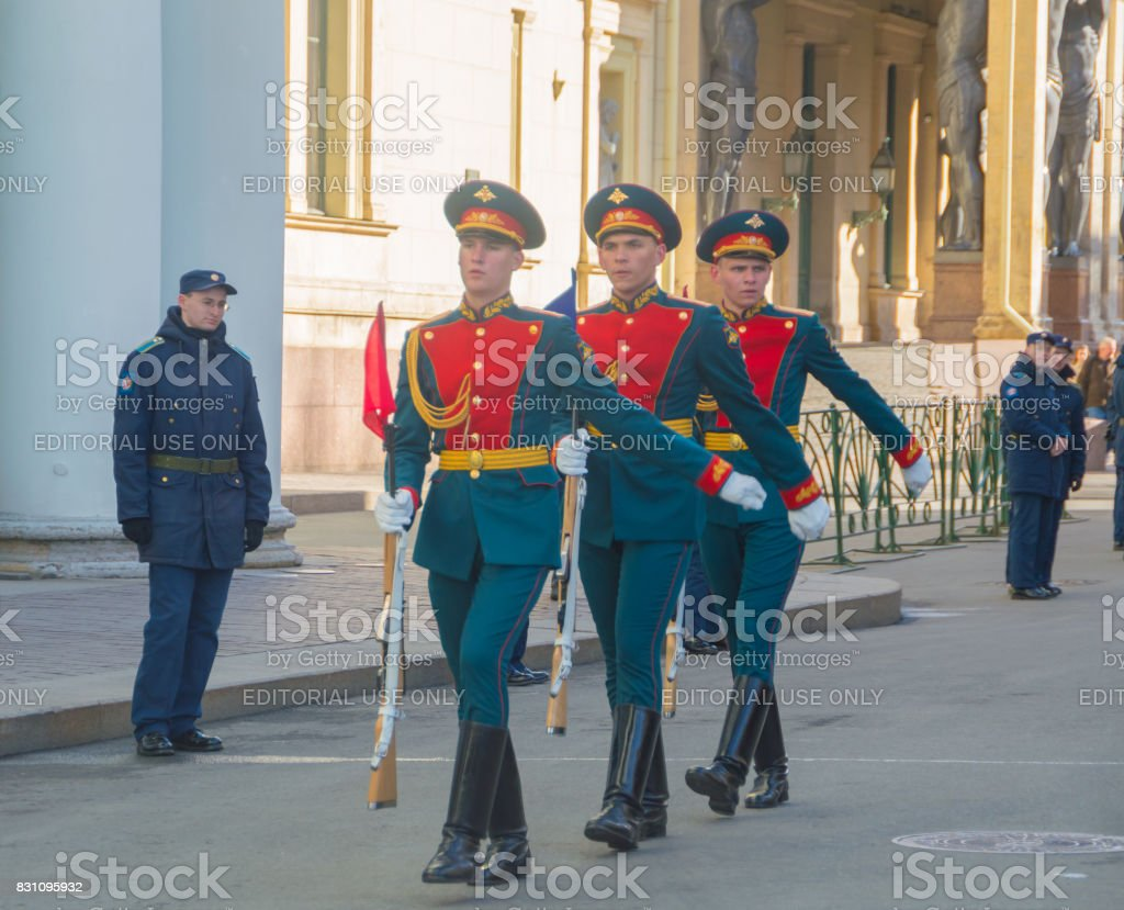 guard on Millionnaya street at the rehearsal of the victory parade stock photo
