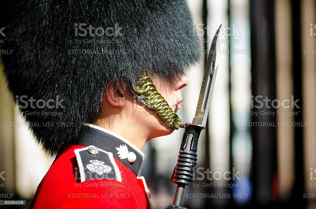 Guard outside Clarence House in London, England stock photo