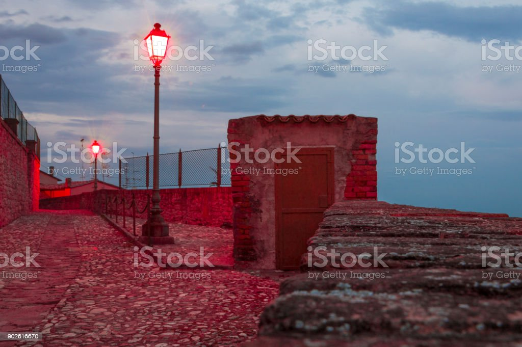 Guard post with red street lights stock photo