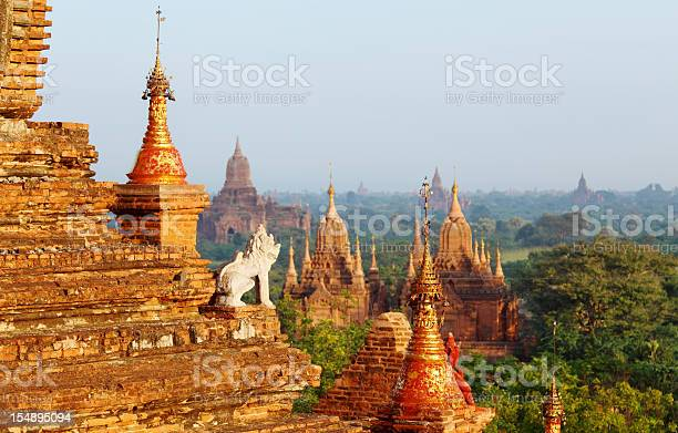 guard statue and Bagan temple field ancient Myanmar buddhist  temple field in Bagan Architecture Stock Photo