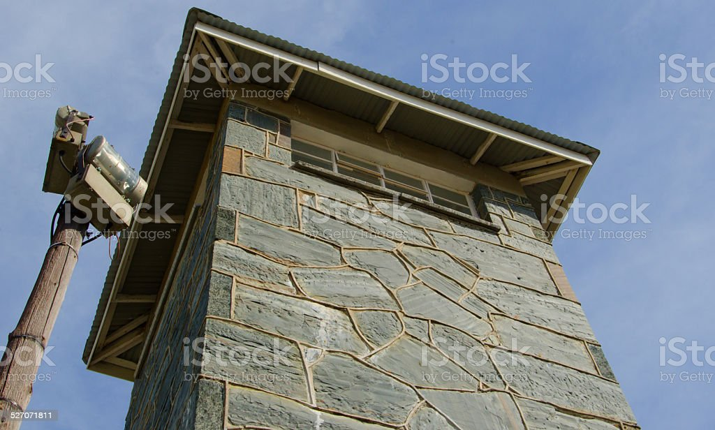 Guard tower at Robben Island stock photo