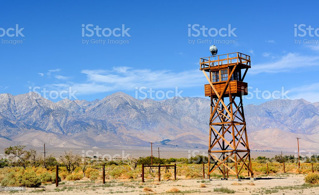 Guard tower at the Manzanar Detention Center stock photo