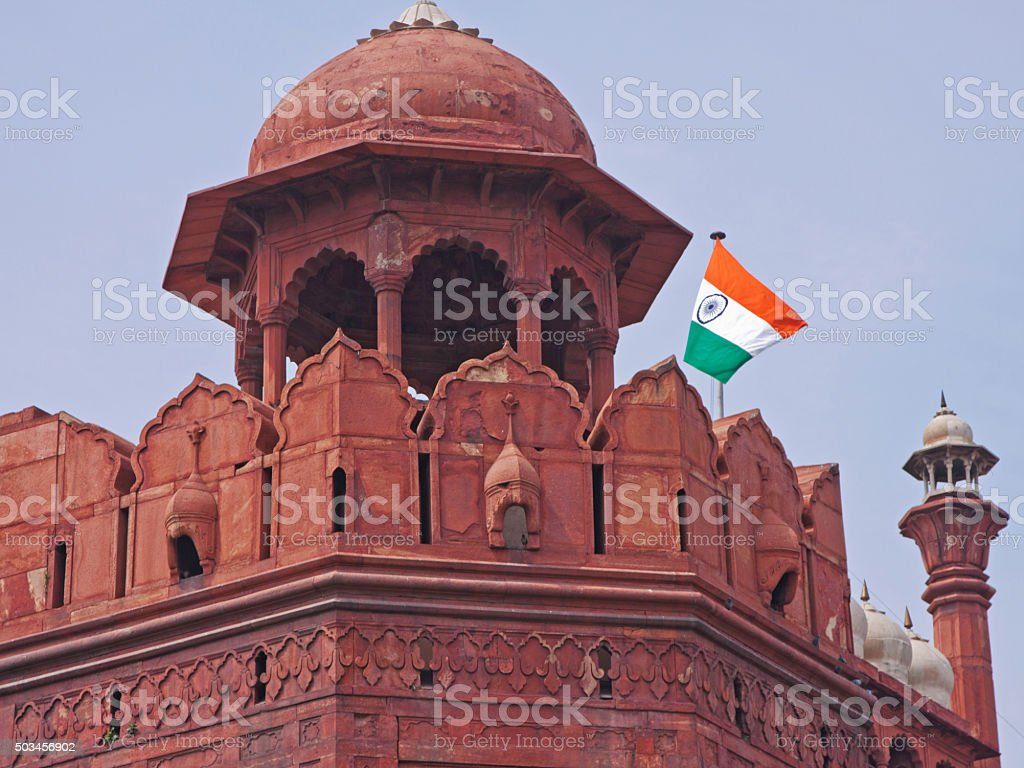 Guard tower in the Red Fort in central Delhi, India stock photo