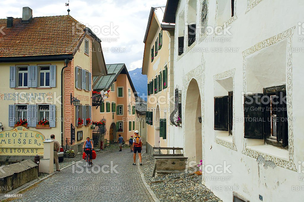 Guarda, typical village in Engadine stock photo