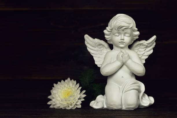Schutzengel und weiße Blume – Foto