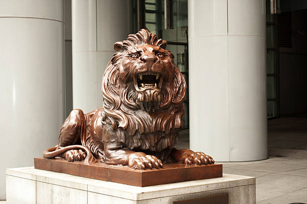 HSBC guardian lion, Stephen, Hong Kong stock photo