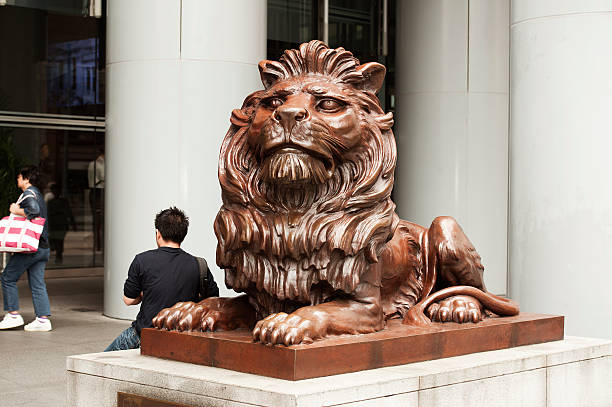 HSBC guardian lion, Stitt, Hong Kong stock photo