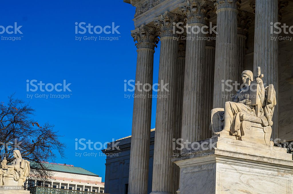 guardian of Law Statue United States Supreme Court Building stock photo