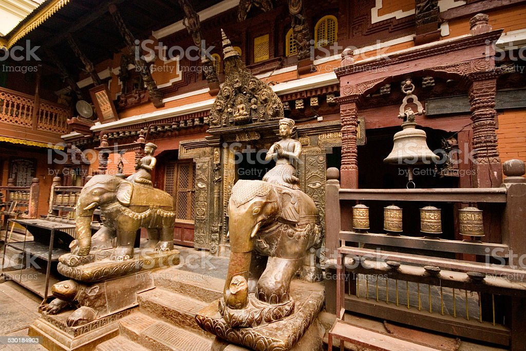 Guardians at Golden Temple,Patan Durbar Square,Nepal. stock photo
