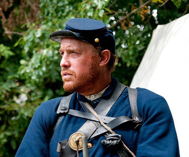 Guarding Camp Union soldier guarding the camp. american civil war stock pictures, royalty-free photos & images