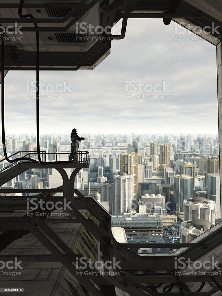 Guarding the Future City stock photo