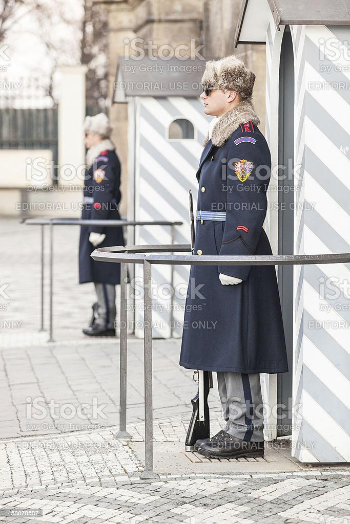 Guards at Prague Castle royalty-free stock photo