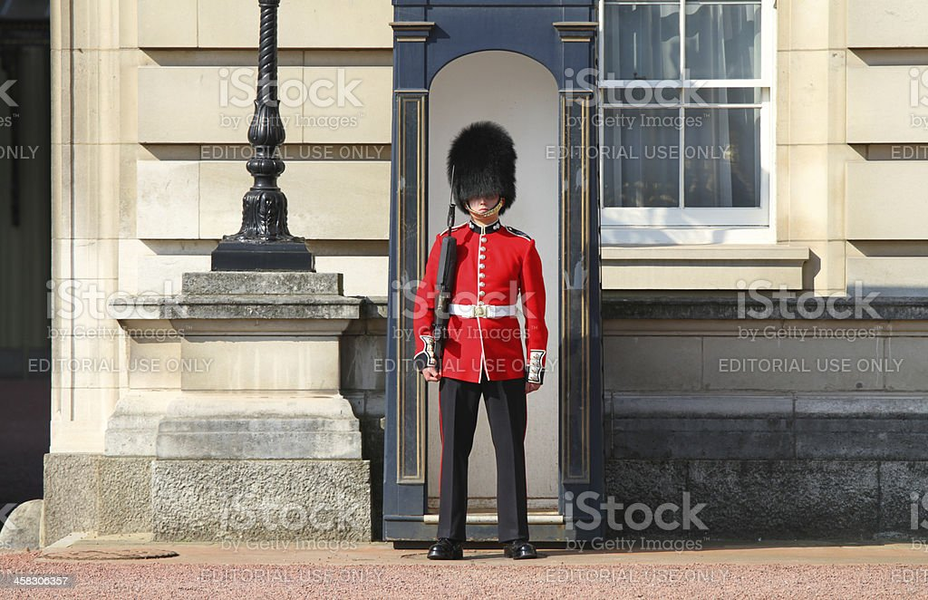 Guardsman Outside Buckingham Palace stock photo