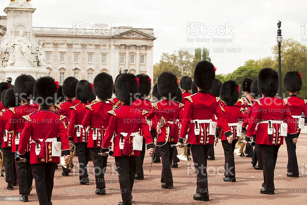 Guardsmen marching in front of Buckingham Palace London stock photo