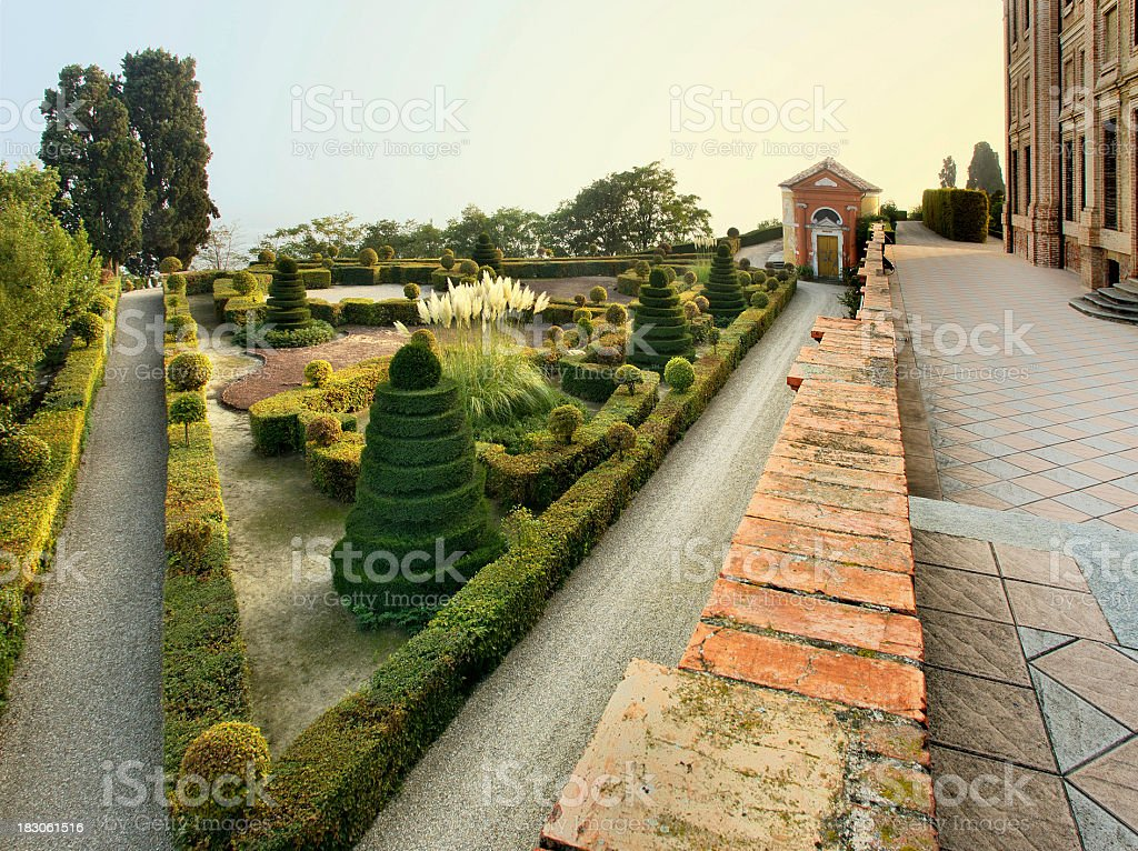 Guarene castle's  garden, detail, geometrical shapes of plants royalty-free stock photo
