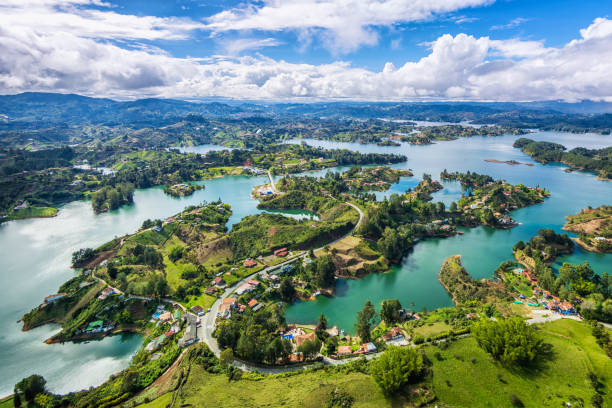 guatape panoramic view from the rock (la piedra del penol), medellin, colombia - colombia stock photos and pictures