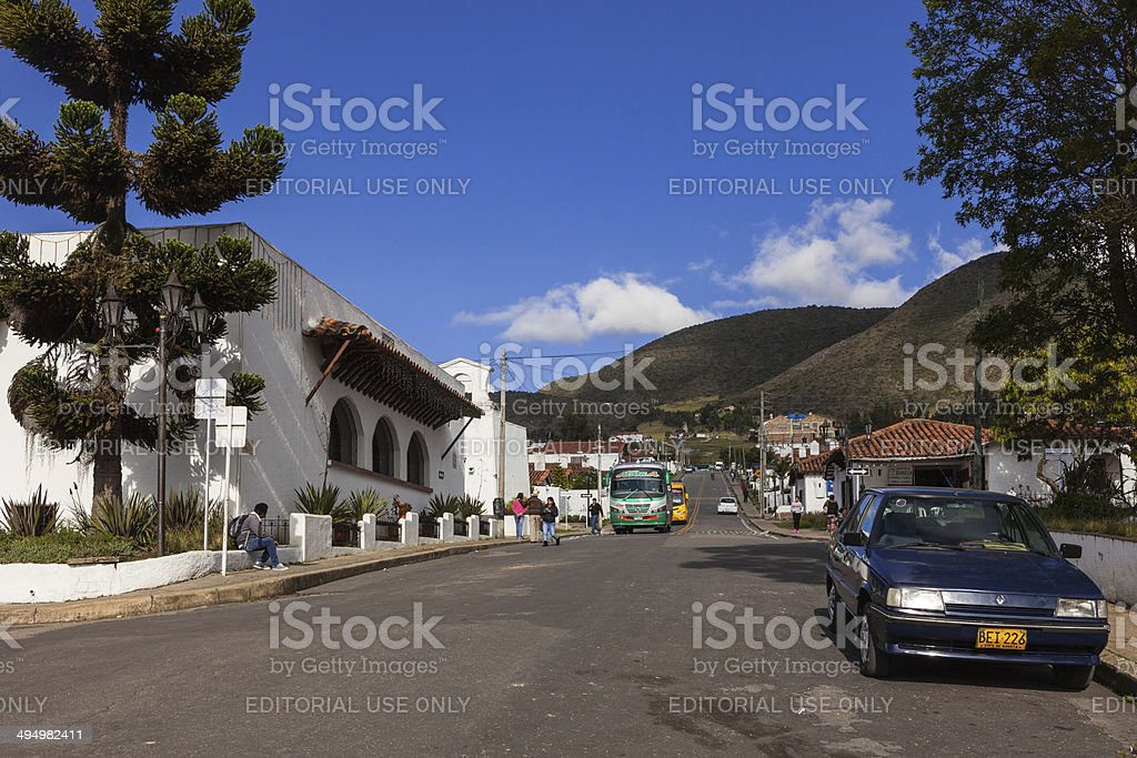 Guatavita, Colombia - Street to main square; Andes background royalty-free stock photo