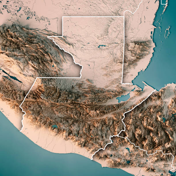 topographic map of guatemala Guatemala Country 3d Render Topographic Map Neutral Color Border