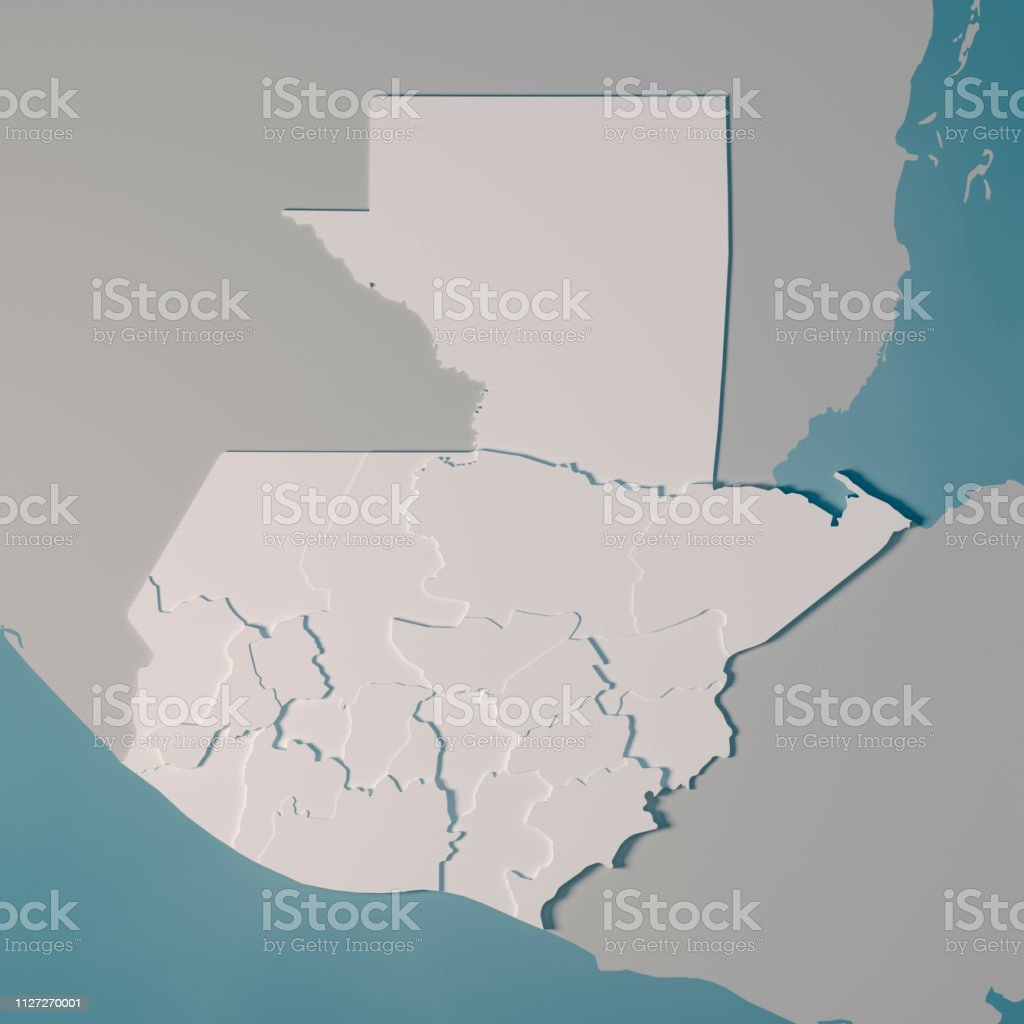 3D Render of a Country Map of Guatemala with the Administrative...