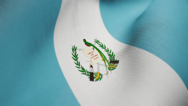 Bandera de Guatemala, Guatemala bandera realista Ilustración 3D - foto de stock