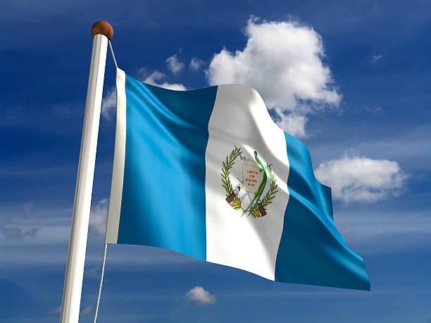 Bandera de Guatemala (con trazado de recorte - foto de stock
