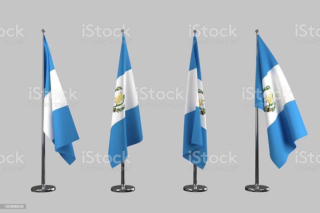Guatemala bajo techo flags aisladas sobre fondo blanco - foto de stock