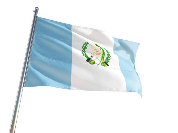 Guatemala bandera nacional ondeando en el viento, aislado fondo blanco. Alta definición - foto de stock