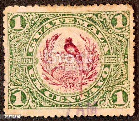 1902 Guatemala stamp with resplendant quetzal.