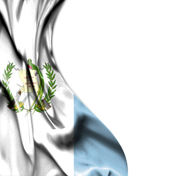 Guatemala bandera raso aislado sobre fondo blanco - foto de stock