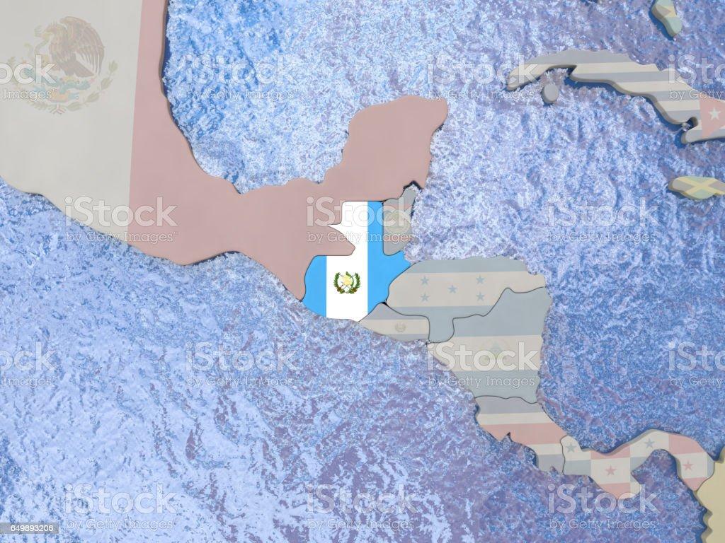 Guatemala con la bandera del mundo - foto de stock