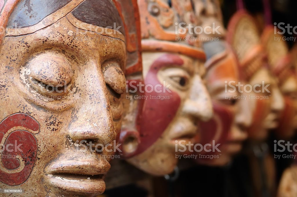 Guatemala,Mayan clay masks at the market stock photo